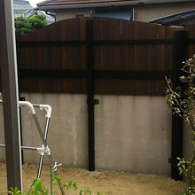 松山市:植栽撤去と木塀作成リフォーム工事